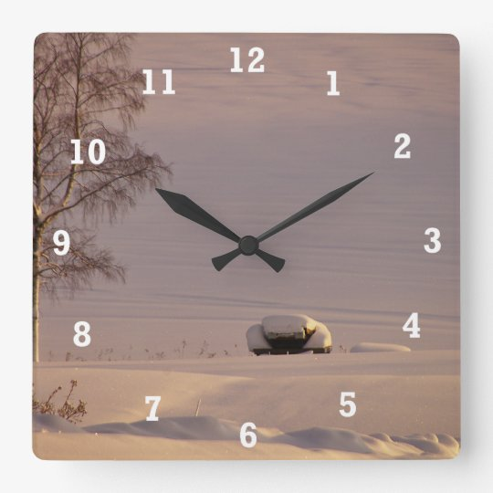 February Morning #1 Square Wall Clock