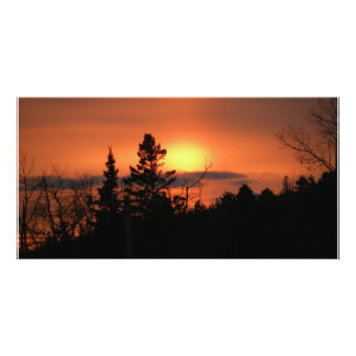 February Sunset Photo Card Template
