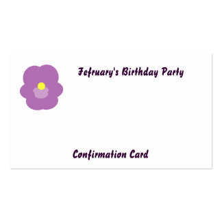 February's Birthday Party-Customize Double-Sided Standard Business Cards (Pack Of 100)