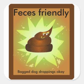 """""""Feces friendly"""" trash can sticker"""