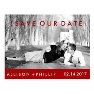 Fecha blanca negra roja de la reserva del boda de postales