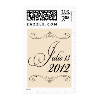 Fecha de encargo con moreno y negro timbre postal