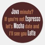 Fecha del café etiqueta redonda