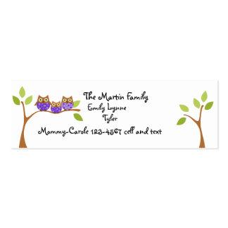 Fecha del juego de tres búhos tarjetas de visita mini