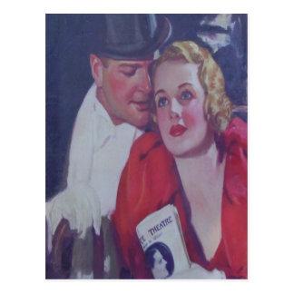 Fecha del teatro del vintage postal