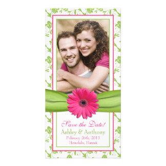 Fecha floral de la reserva del boda de la cinta de tarjetas fotográficas personalizadas