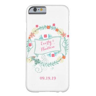 Fecha floral iPhone6 del boda de la guirnalda Funda Para iPhone 6 Barely There