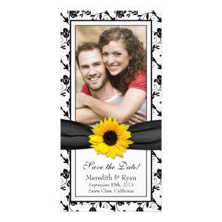 Fecha floral negra de la reserva del boda de la ci tarjetas fotográficas