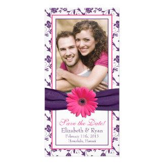 Fecha floral púrpura de la reserva del boda de la  tarjetas con fotos personalizadas