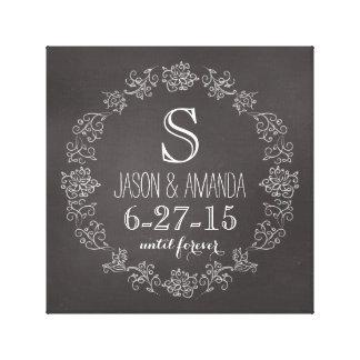 Fecha personalizada del boda del monograma de la impresión en lienzo
