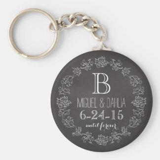 Fecha personalizada del boda del monograma de la llavero redondo tipo pin