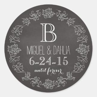 Fecha personalizada del boda del monograma de la pegatina redonda