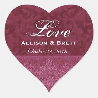 Fecha roja de novia y del novio del amor pegatina de corazon personalizadas