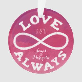 Fecha rosada del boda del amor del infinito de la
