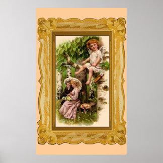Fecha y Cupid de la tarjeta del día de San Valentí Posters