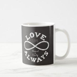 Fecha y nombres del boda del amor del infinito de taza