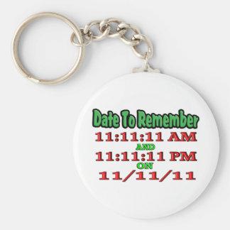 Feche para recordar 11-11-11 llavero redondo tipo pin