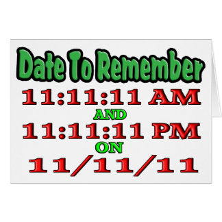 Feche para recordar 11-11-11 tarjeta de felicitación