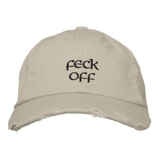 Feck off distressed baseball cap