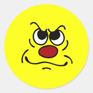 FED encima de la cara sonriente Grumpey Pegatina Redonda