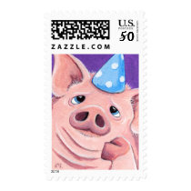 Fed Up Pig Wearing a Blue Party Hat Illustration Postage