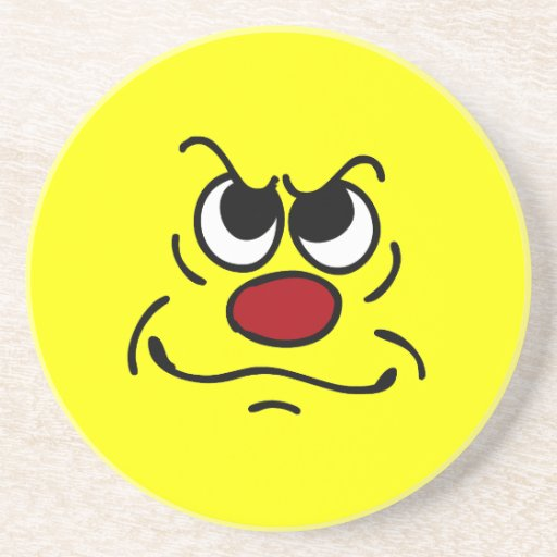Fed Up Smiley Face Grumpey Beverage Coasters