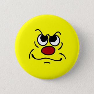 Fed Up Smiley Face Grumpey Button
