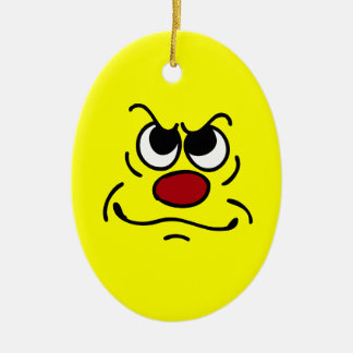 Fed Up Smiley Face Grumpey Ceramic Ornament