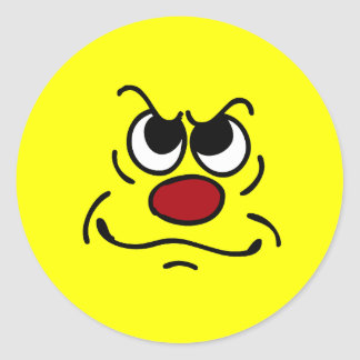 Fed Up Smiley Face Grumpey Classic Round Sticker