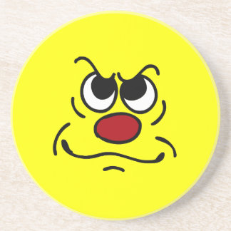 Fed Up Smiley Face Grumpey Drink Coaster