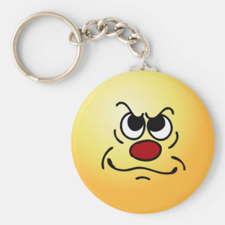 Fed Up Smiley Face Grumpey Keychain