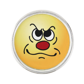 Fed Up Smiley Face Grumpey Pin