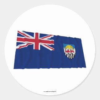 Federación de Rhodesia y de la bandera que agita Pegatina Redonda