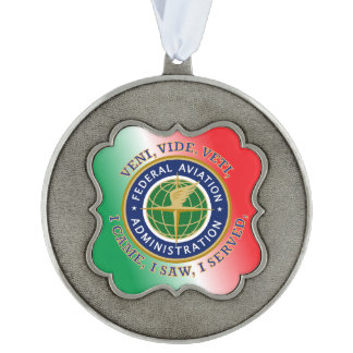 Federal Aviation Administration Scalloped Pewter Christmas Ornament