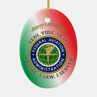 Federal Aviation Administration Double-Sided Oval Ceramic Christmas Ornament