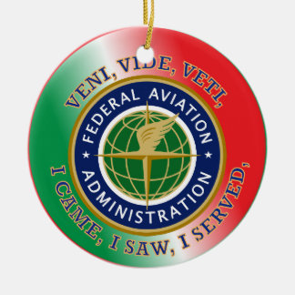 Federal Aviation Administration Double-Sided Ceramic Round Christmas Ornament