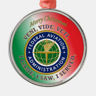 Federal Aviation Administration Round Metal Christmas Ornament