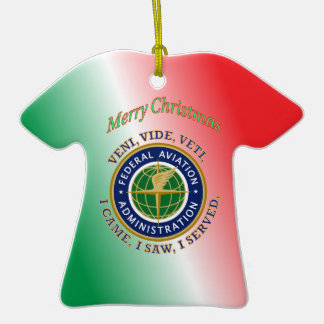 Federal Aviation Administration Double-Sided T-Shirt Ceramic Christmas Ornament