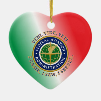 Federal Aviation Administration Double-Sided Heart Ceramic Christmas Ornament