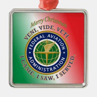 Federal Aviation Administration Square Metal Christmas Ornament