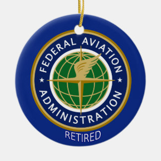 Federal Aviation Administration Retired Double-Sided Ceramic Round Christmas Ornament