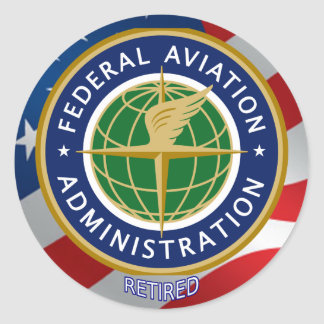 Federal Aviation Administration Retired Round Stickers