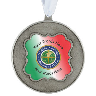 Federal Aviation Administration Shield Scalloped Pewter Christmas Ornament