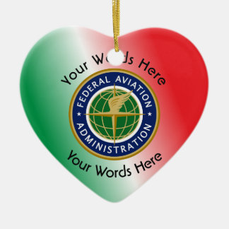 Federal Aviation Administration Shield Double-Sided Heart Ceramic Christmas Ornament