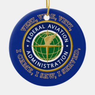 Federal Aviation Administration Shield Double-Sided Ceramic Round Christmas Ornament