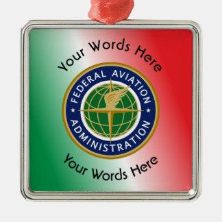 Federal Aviation Administration Shield Square Metal Christmas Ornament