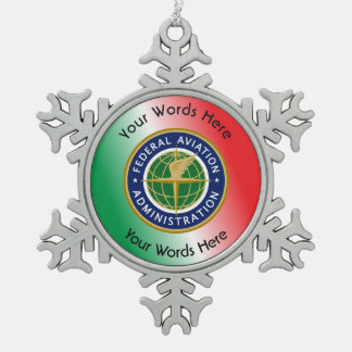 Federal Aviation Administration Shield Snowflake Pewter Christmas Ornament