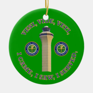 Federal Aviation Administration VVV Shield Double-Sided Ceramic Round Christmas Ornament