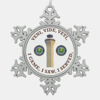 Federal Aviation Administration VVV Shield Snowflake Pewter Christmas Ornament
