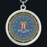 """Federal Bureau of Investigation (FBI) Silver Plated Necklace<br><div class=""""desc"""">The Federal Bureau of Investigation (FBI) is an agency of the United States Department of Justice that serves as both a federal criminal investigative body and an internal intelligence agency. The FBI has investigative jurisdiction over violations of more than 200 categories of federal crime. Its motto is a backronym of...</div>"""